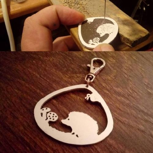 Hedgehog keyring Hard Aluminium 4.5cm Handcrafted made by saw piercing Caroline Howlett Design